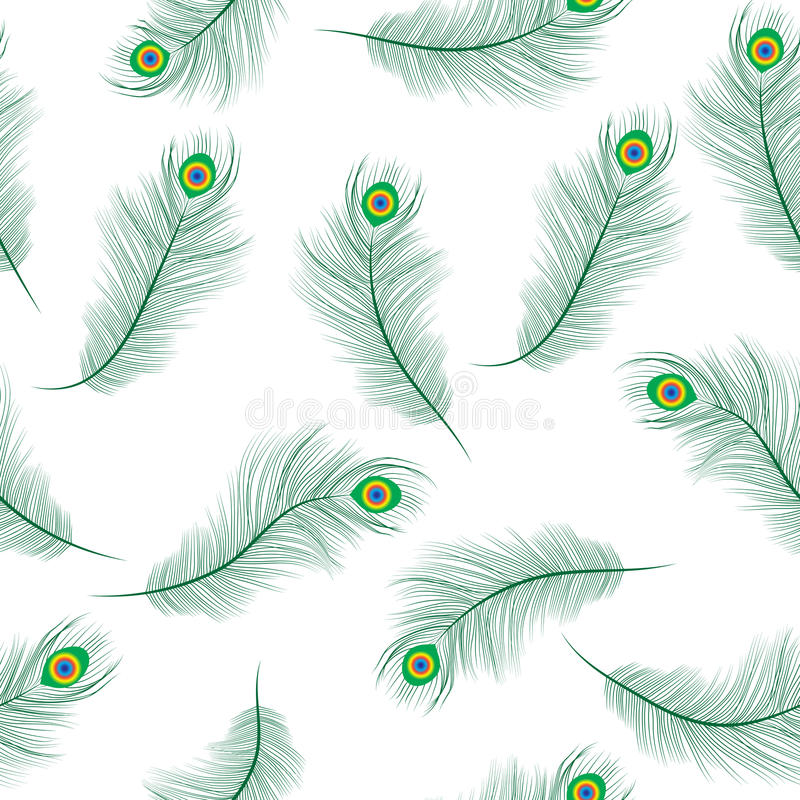 Peacock feather seamless texture, peacock feathers background. Feathers of a peacock wallpaper. Vector illustration. stock illustration