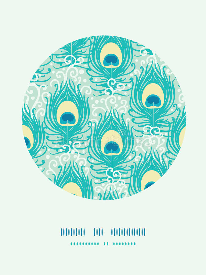 Peacock Feathers Vector Decor Pattern Background Stock Photos