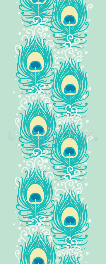 Peacock feathers vector vertical seamless pattern