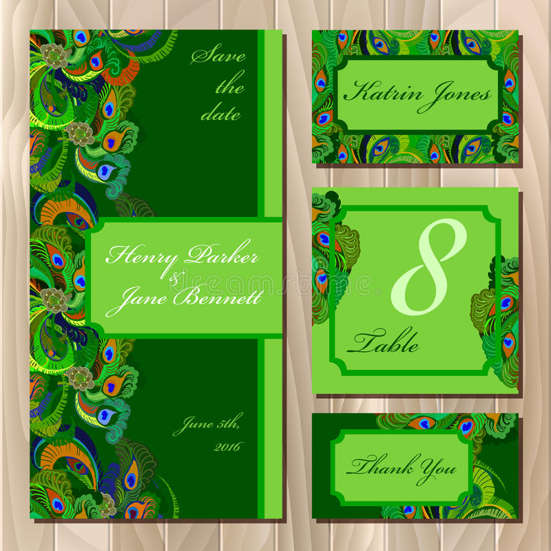Peacock Feathers Wedding card set. Printable Vector illustration. Set of green printable backgrounds to celebrate the wedding. Peacock Feathers. Invitation card stock illustration