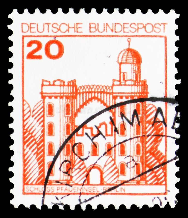 Peacock Island Castle, Berlin, Strongholds and Castles serie, circa 1979. MOSCOW, RUSSIA - MARCH 23, 2019: Postage stamp printed in Germany, Federal Republic royalty free stock images