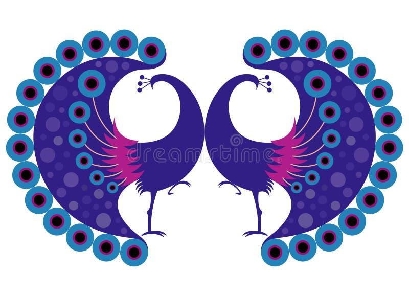 Peacock motif royalty free illustration