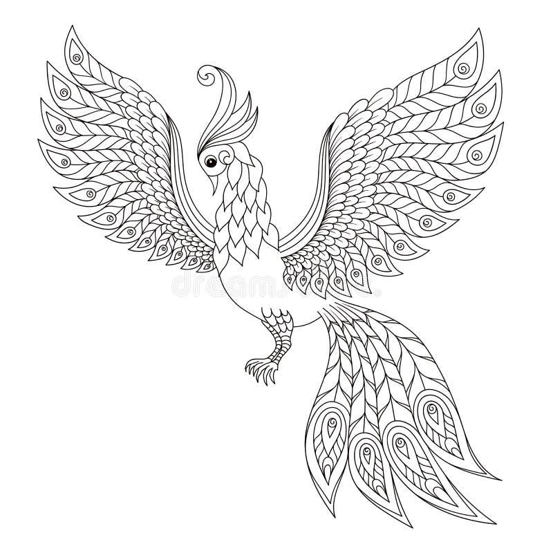 peacock Pagina antistress adulta di coloritura illustrazione vettoriale
