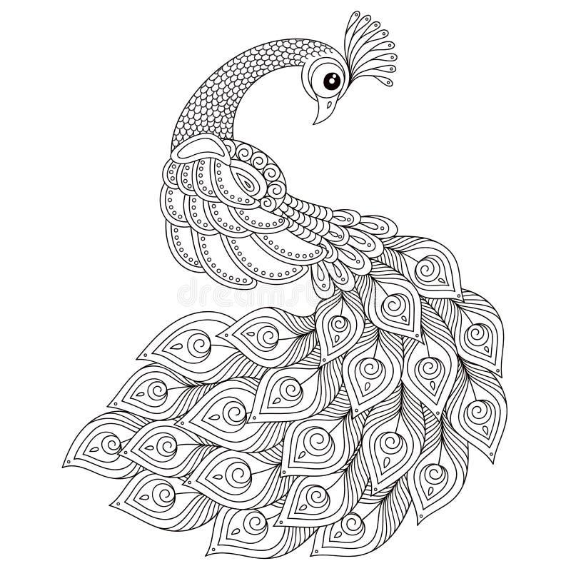 peacock Pagina antistress adulta di coloritura royalty illustrazione gratis