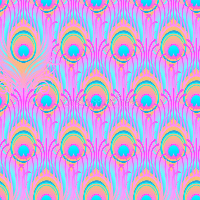 Peacock pale pink seamless vector pattern. Peafowl abstract feat vector illustration