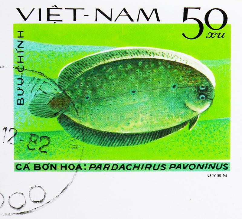 Peacock Sole (Pardachirus pavoninus), Fish - Soles / Flatfish serie, circa 1982. MOSCOW, RUSSIA - AUGUST 4, 2019: Postage stamp printed in Vietnam shows Peacock stock photo