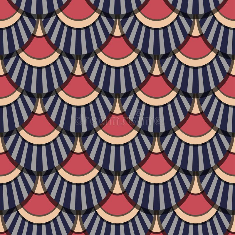 Peacock tails retro colours vector seamless patter. For wrapping, craft, textile, fabric royalty free illustration