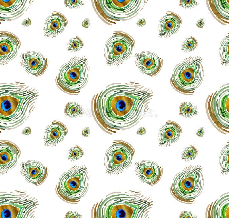 Peacock watercolour seamless pattern stock illustration