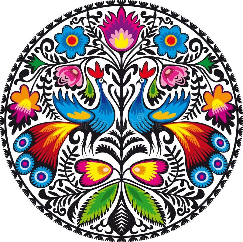 Peacocks. Illustration of Polish traditional papercut from Lowicz region royalty free illustration