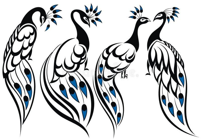 Peacocks royalty free illustration