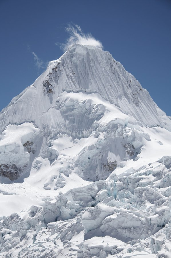 Peak Alpamayo in the Cordillera Blanca royalty free stock images