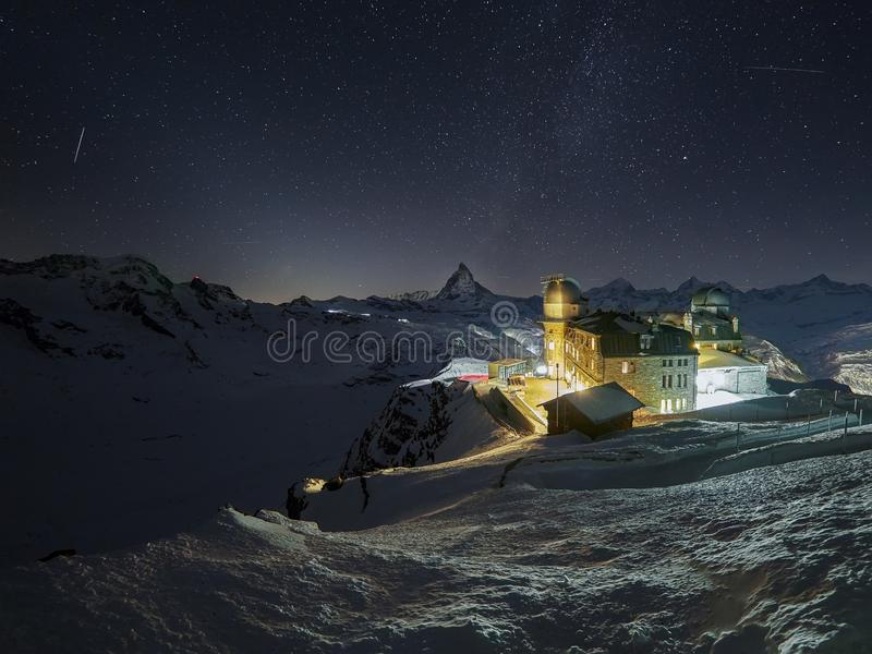 From the peak behind the Gornergrat Observatory and Matterhorn a breathtaking view of the most imposing mountain in Europe. The Gornergrat Observatory 3089 m / royalty free stock images