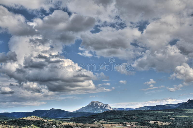 Peak of Bugarach in the Corbieres, France royalty free stock images