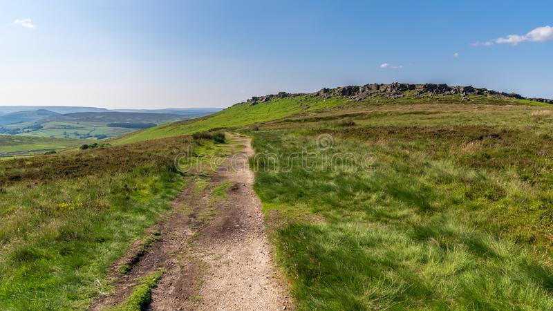 Peak District landscape at Stanage Edge, Derbyshire, England, UK royalty free stock photography