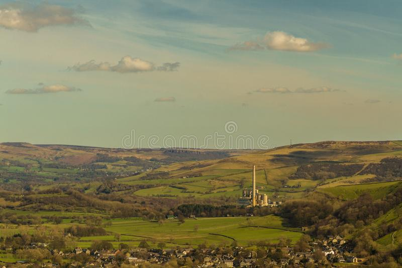 Peak District view with cement works, The Hope Valley. The Hope Valley and Breedon Cement Works, from near Mam Tor. Peak District National Park, Derbyshire royalty free stock images