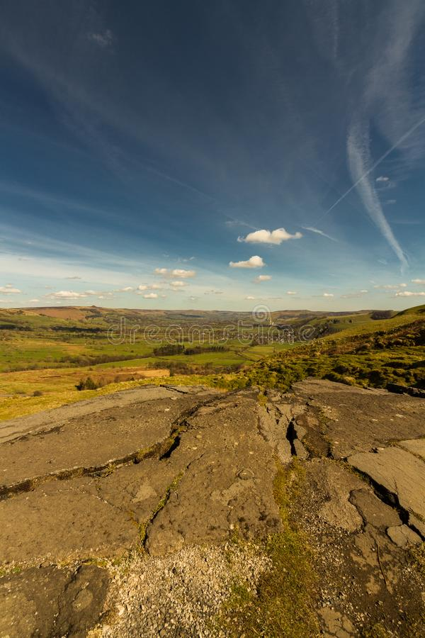 Peak District view with cement works, The Hope Valley. The Hope Valley and Breedon Cement Works, from near Mam Tor. Peak District National Park, Derbyshire royalty free stock photo