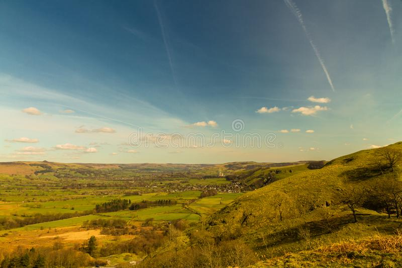 Peak District view, The Hope Valley. The Hope Valley, from near Mam Tor. Peak District National Park, Derbyshire, England, UK stock photo