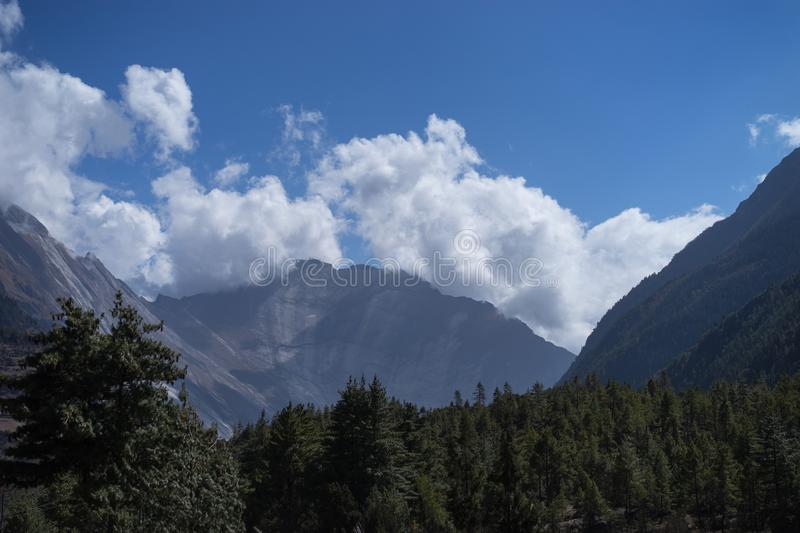 Peak and Forest in the Himalaya mountains, Annapurna region, Nepal stock photo