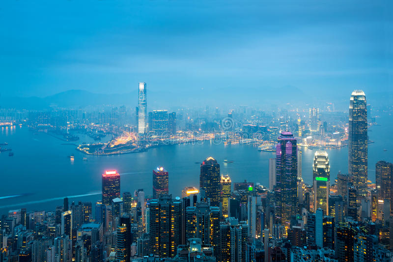 The Peak Hong kong skyline. Hong kong skyline view from the victoria peak, Victorial peak is a mountain in the western half of Hong Kong Island. Hong kong city royalty free stock photo
