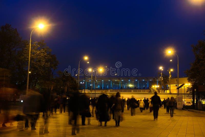 Peak-hour croud near metro station Sportivnaya in Moscow stock photos