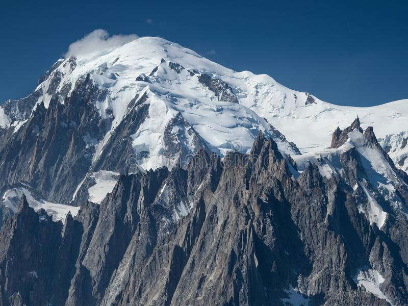 Peak of Mont Blanc in the French Alps stock image