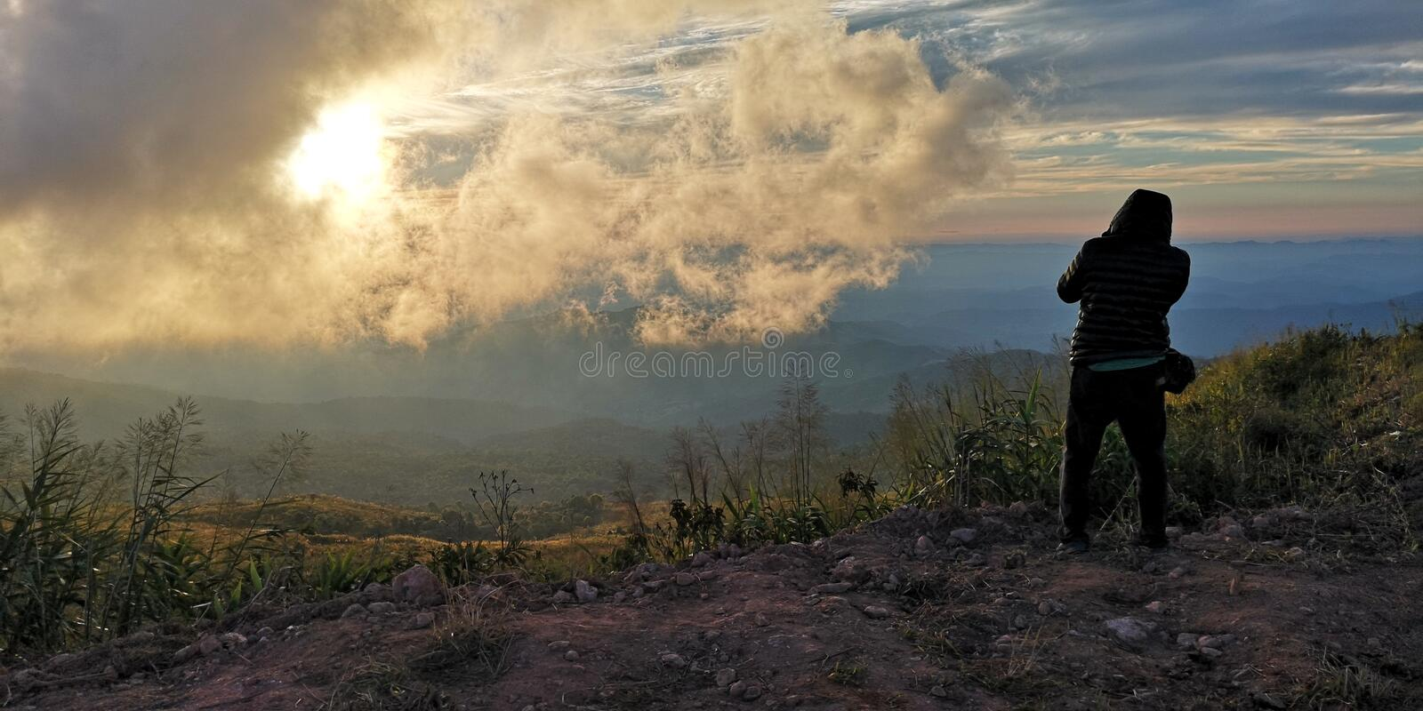 Peak mountain landscape with beautiful sunset, north of Thailand - Image. Top of Doi Suan Ya Luang mountain landscape with beautiful sunset, north of Thailand royalty free stock photos