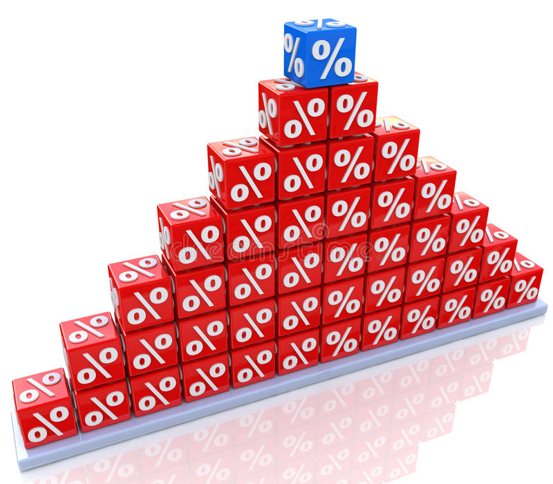 Peak percentage of success stock image