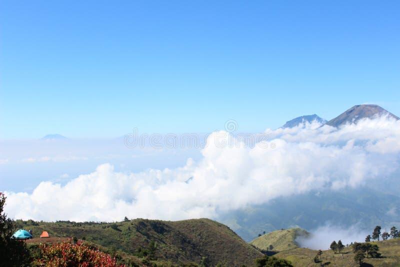 Panorama of the peak of Mount Prau stock photography