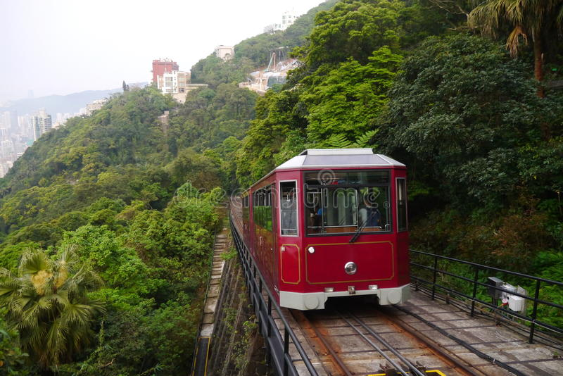 Peak tram. Was driving across the peak in Hong Kong stock photo
