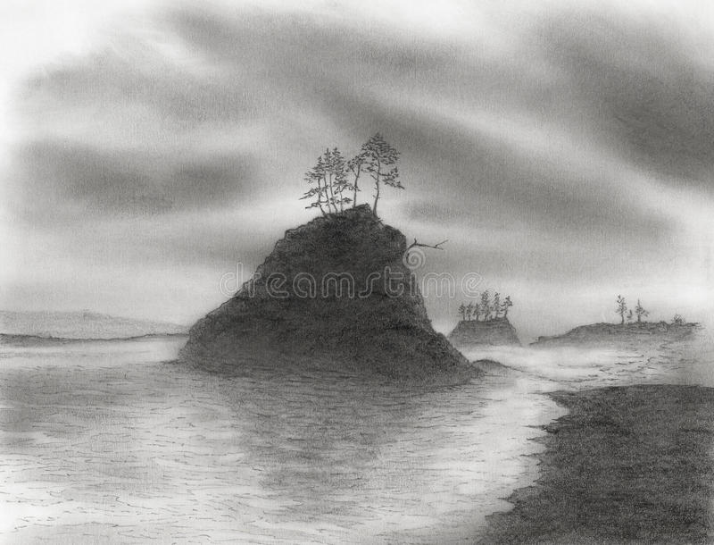 Peak with trees over sea bay with cloudy sky stock illustration