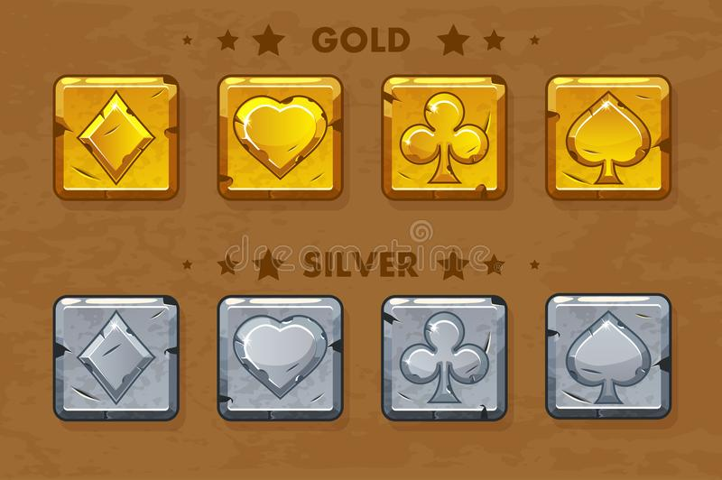 Peak, tref, chirva and tambourine, old golden and silver Poker simbols. Vector Icons for game assets stock illustration