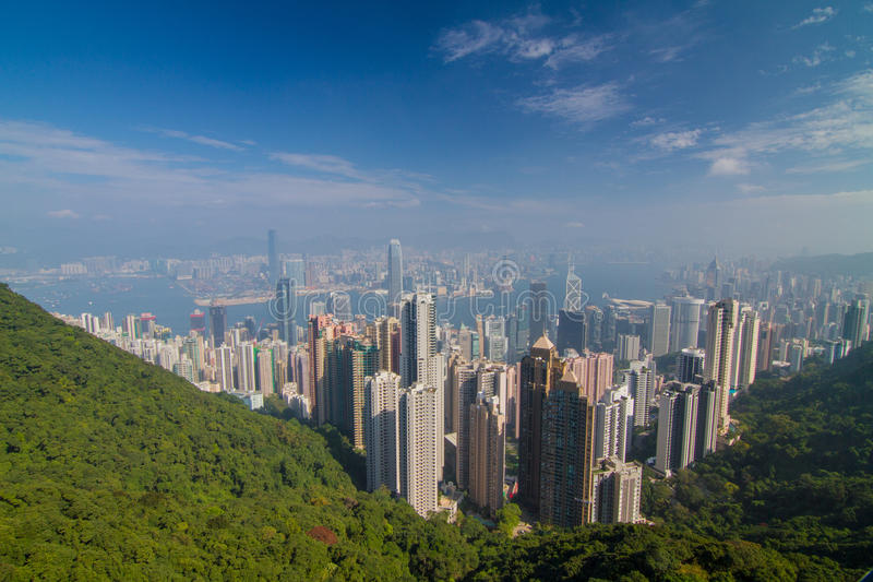 The Peak View Hongkong. Skyscrapper View from the Peak Hongkong Island stock photography