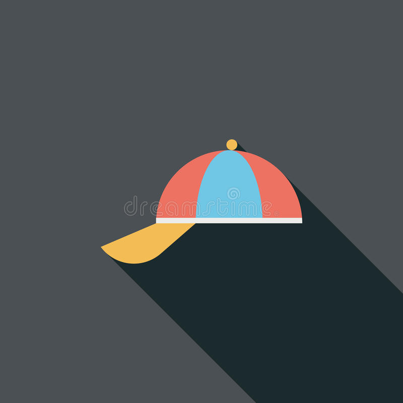Peaked cap flat icon with long shadow royalty free illustration