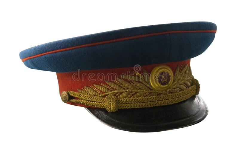 Peaked  cap of officer of the Soviet army isolated on white background. cap of the Second World War.  royalty free stock photography