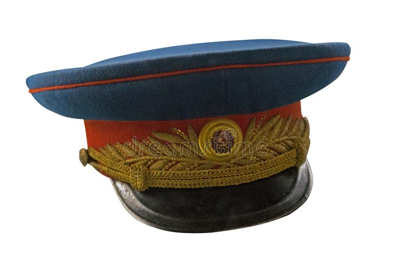 Peaked  cap of officer of the Soviet army isolated on white background. cap of the Second World War.  royalty free stock photo