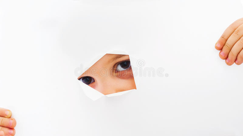 Download Peaking through paper hole stock image. Image of playing - 31395079