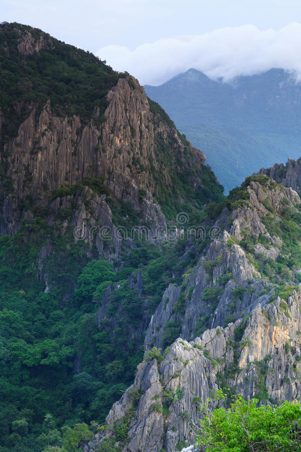Peaks of carbonate mountains in Thailand royalty free stock image
