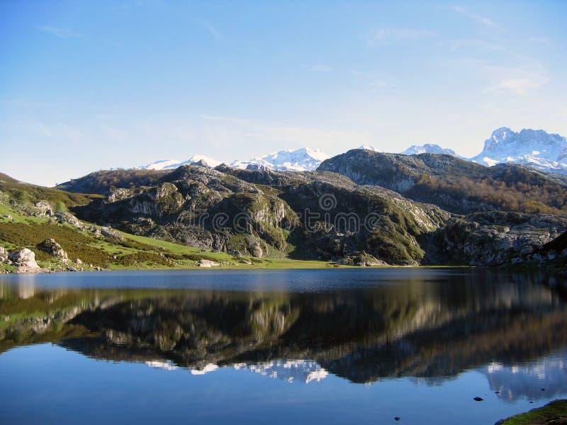 Peaks of Europe. Ercina´s lake in the Peaks of Europe royalty free stock photos