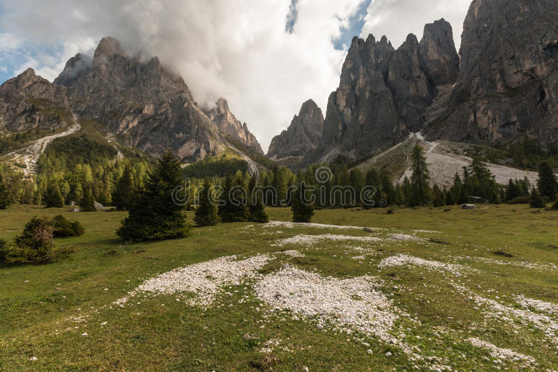 Peaks of Langkofel Group in Dolomites. Italy royalty free stock images
