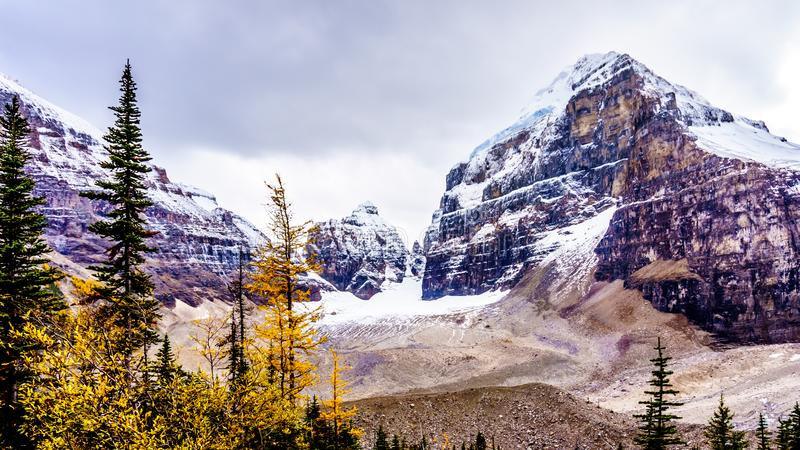 Peaks in the Rocky Mountains at the Plain of Six Glaciers at Lake Louise, Banff National Park. View of peaks in the Rocky Mountains at the Plain of Six Glaciers royalty free stock photo