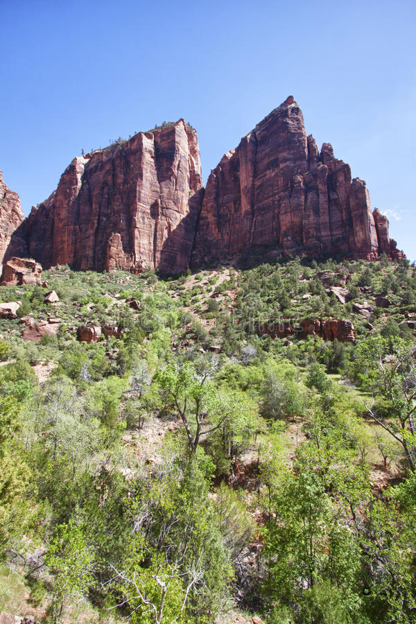 Peaks in the Zion Canyon National Park, Utah royalty free stock photography