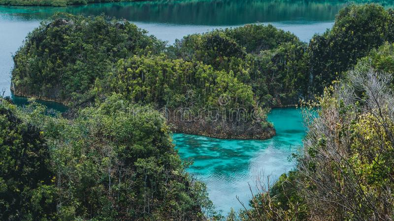 Peanemo Islands with blue lagoon between. Untouched nature. Raja Ampat, West Papua, Indonesia stock photography