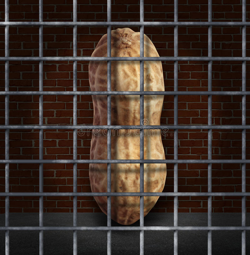 Peanut Allergy. And no peanuts allowed concept with the prohibited snack behind bars as a symbol of allergic reaction and baned ingredients causing food stock illustration