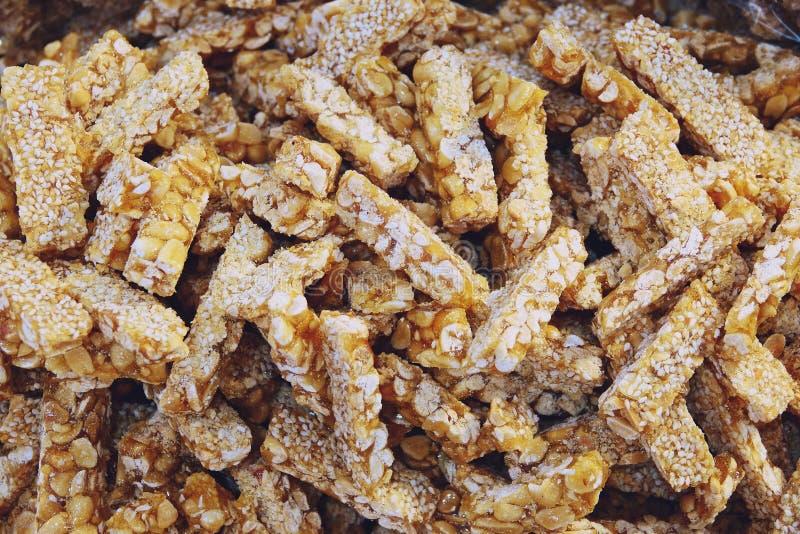 Peanut Bar or Nut Bars, Thai street food stock images