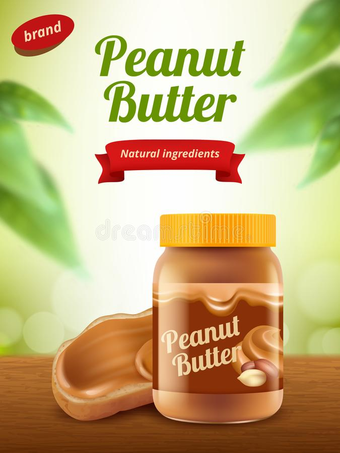 Peanut butter advertising. Creamy healthy sweet chocolate food placard or poster realistic banner template. Illustration of peanut butter snack to breakfast stock illustration