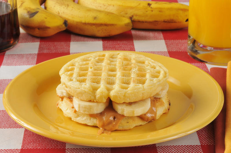 Peanut butter and banana sandwich on a waffle royalty free stock photography