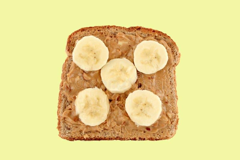 Peanut butter and banana toast royalty free stock photography
