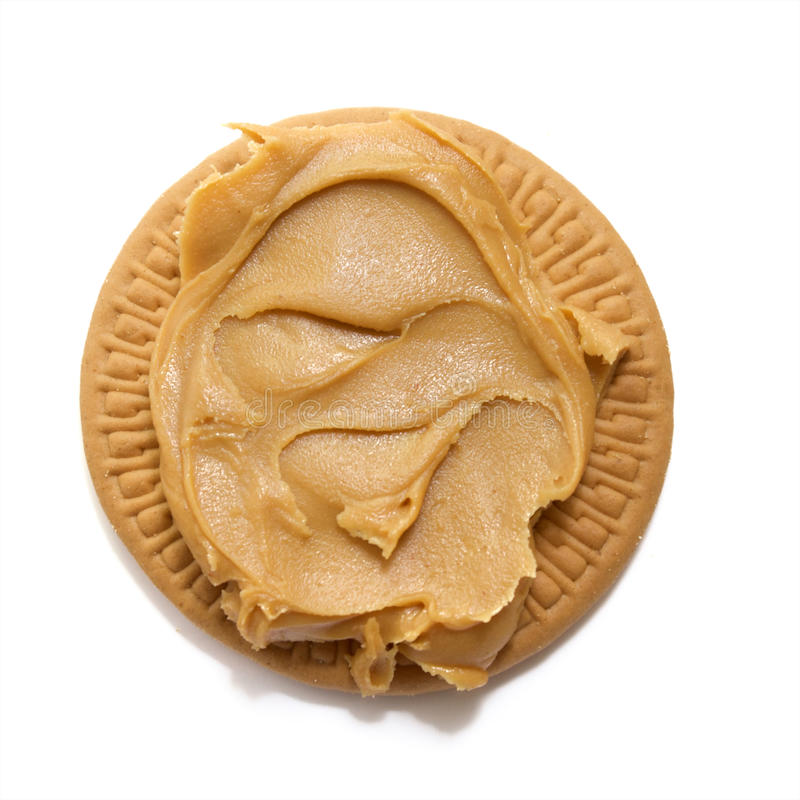 Peanut butter on biscuit stock photos