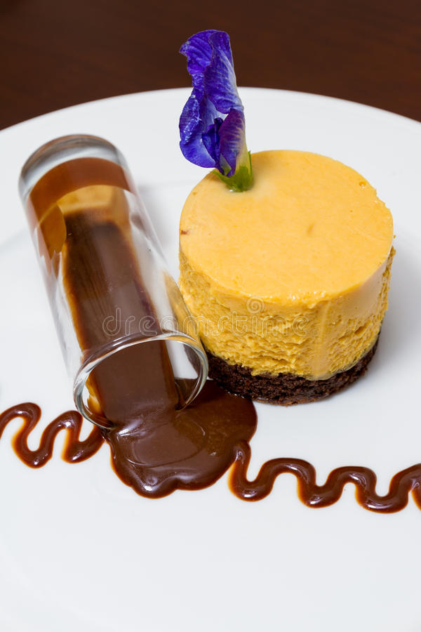 Peanut butter and chocolate brownie. Delicious desert made with peanut butter and chocolate made into a layered brownie served with chocolate sauce stock photography