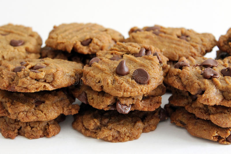 Peanut butter chocolate chip cookies royalty free stock photos